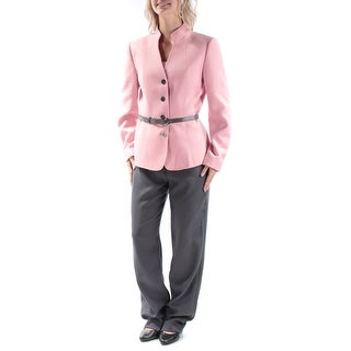 TAHARI $280 Womens New 1449 Pink Belted Straight leg Suit Pant Suit 6 B+B