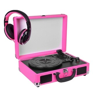 Innovative Technology 3-Speed Vintage Suitcase Turntable (Pink)- Certified Refurbished