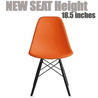 2xhome Modern Color Pyramid Seat DSW Molded Armless Plastic Chairs For Dining Room Dark With Wood Eiffel Dowel Legs