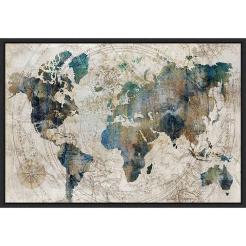 Celestial World Map (Blue) by Isabelle Z Framed Canvas Art