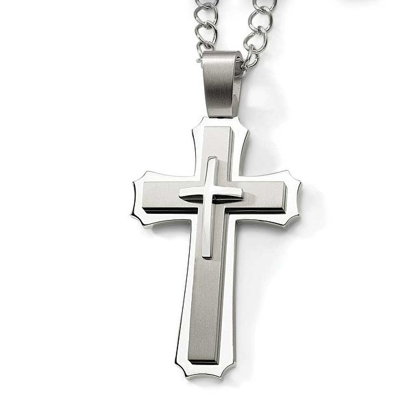 Chisel stainless steel cross pendant necklace 8 mm 24 in free chisel stainless steel cross pendant necklace 8 mm 24 in aloadofball Images