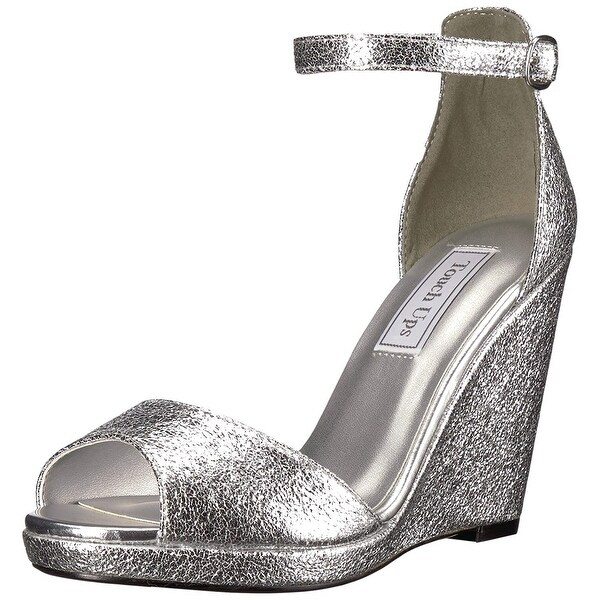Touch Ups Women's Holly Wedge Sandal, Silver, Size 8.5