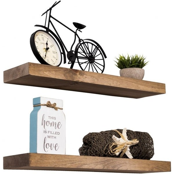 Rustic Wooden Floating Wall Shelves (Set of 2). Opens flyout.