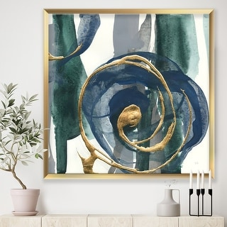Link to Designart 'Mettalic Indigo and Gold I' Posh & Luxe Framed Art Print Similar Items in Table Lamps