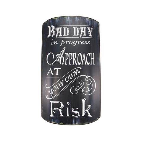 Distressed Finish Retro BAD DAY IN PROGRESS Metal Sign - 14 X 7.75 X 0.75 inches
