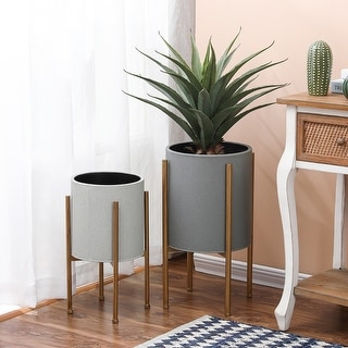 Link to 2-Piece Gray Round Metal Planters and Gold Stand Similar Items in Outdoor Decor