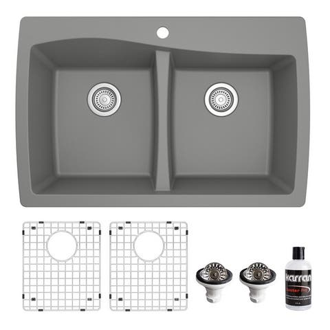 Karran Drop-In Quartz 34 in. 1-Hole 50/50 Double Bowl Kitchen Sink Kit
