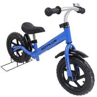 Goplus 12'' Kids Balance Bike No-Pedal Learn To Ride Pre Bike Adjustable Seat Bike Stand - Blue