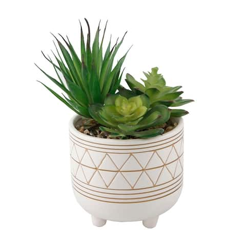 "Artificial Plant Succulent in 5"" GEO CERAMIC Footed Pot - ONE-SIZE"