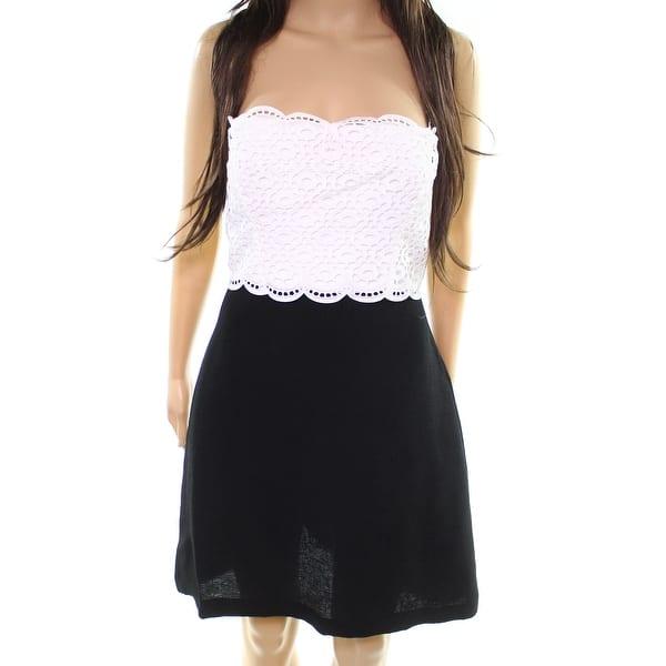 Shop Sandro Black Womens Size 8 Two Tone Scallop Lace Trim