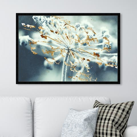 Oliver Gal 'Gold Meadow' Floral and Botanical Framed Wall Art Prints Florals - White, Gold