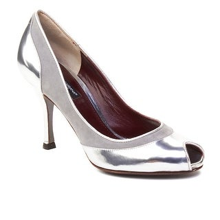 Dolce & Gabbana Women's Peep Toe Leather Pump Silver (2 options available)