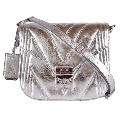 MCM Metallic Silver Quilted Leather Patricia Crossbody Hobo Purse