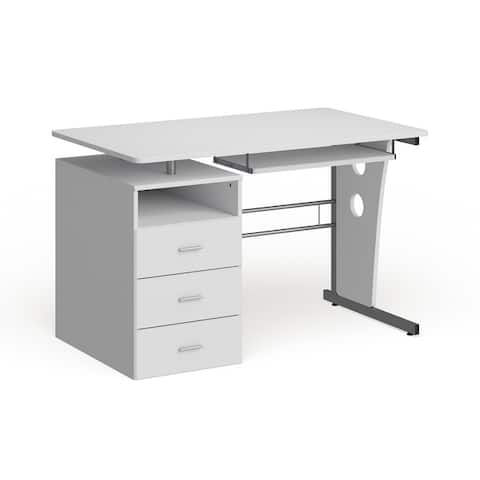 Computer Desk with Three Drawer Single Pedestal and Pull-Out Keyboard Tray