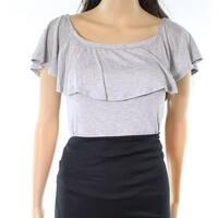 Soprano Women's Large Scoop Neck Ruffled Bodysuit Knit Top