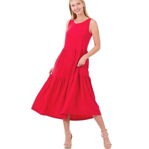 JED Women's Sleeveless Flowy Tiered Midi Dress