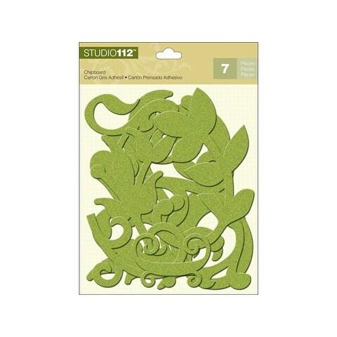 K&Co Studio 112 Chipboard Glitter Lime Swirls