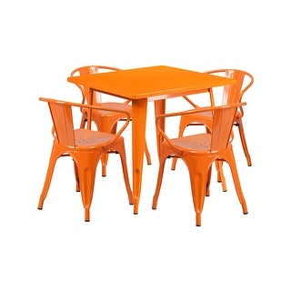 "Offex 31.5"" Square Orange Metal Indoor Table Set with 4 Arm Chairs  [OF-ET-CT002-4-70-OR-GG]"