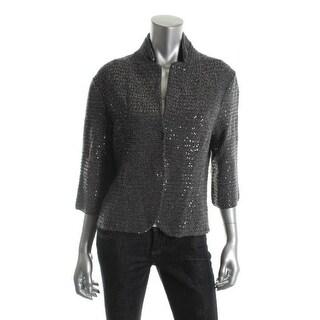 Elie Tahari Womens Reva Metallic Sequined Blazer - XS