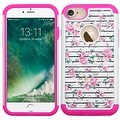 Insten Pink/ White Fresh Roses Hard PC/ Silicone Dual Layer Hybrid Rubberized Matte Case Cover with Diamond For Apple iPhone 7 - Thumbnail 0