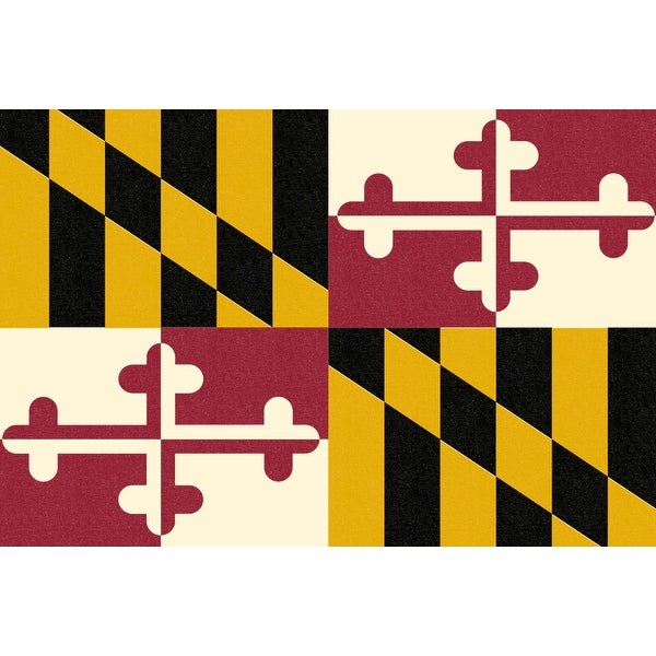 MD State Flag - Letterpress - LP Artwork (Acrylic Wall Clock)
