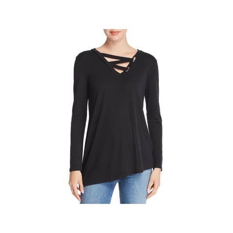 Love Scarlett Womens Top Long Sleeves Criss-Cross Front