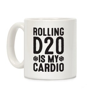 Rolling D20 Is My Cardio White 11 Ounce Ceramic Coffee Mug by LookHUMAN