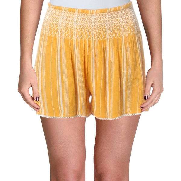 Aqua Womens Shorts Smocked Striped - Gold - L. Opens flyout.