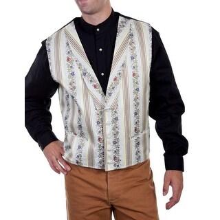 Scully Western Vest Mens Floral Stripe Shawl Lapel Five Button RW273 - L