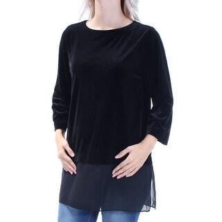 Womens Black 3/4 Sleeve Jewel Neck Evening Top Size XL