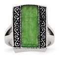 Chisel Stainless Steel Synthetic Jade Antiqued Rectangular Ring (17 mm) - Thumbnail 0