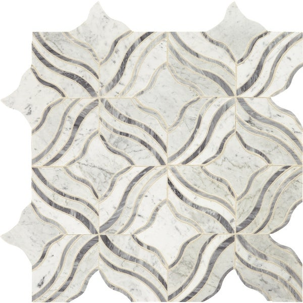 "Daltile LVMELODMS1L Lavaliere - 11"" x 11"" Sheet Varied Wave Mosaic Floors and Wall Tile - Light Polished Marble Visual - Sold"
