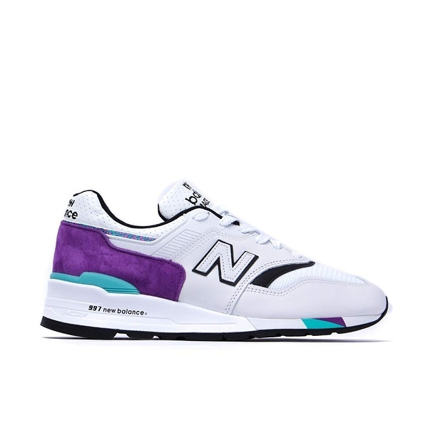 Shop New Balance 997 Made in The USA White & Purple Trainers ...