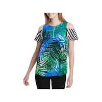 Calvin Klein Womens Blouse Printed Cold Shoulder