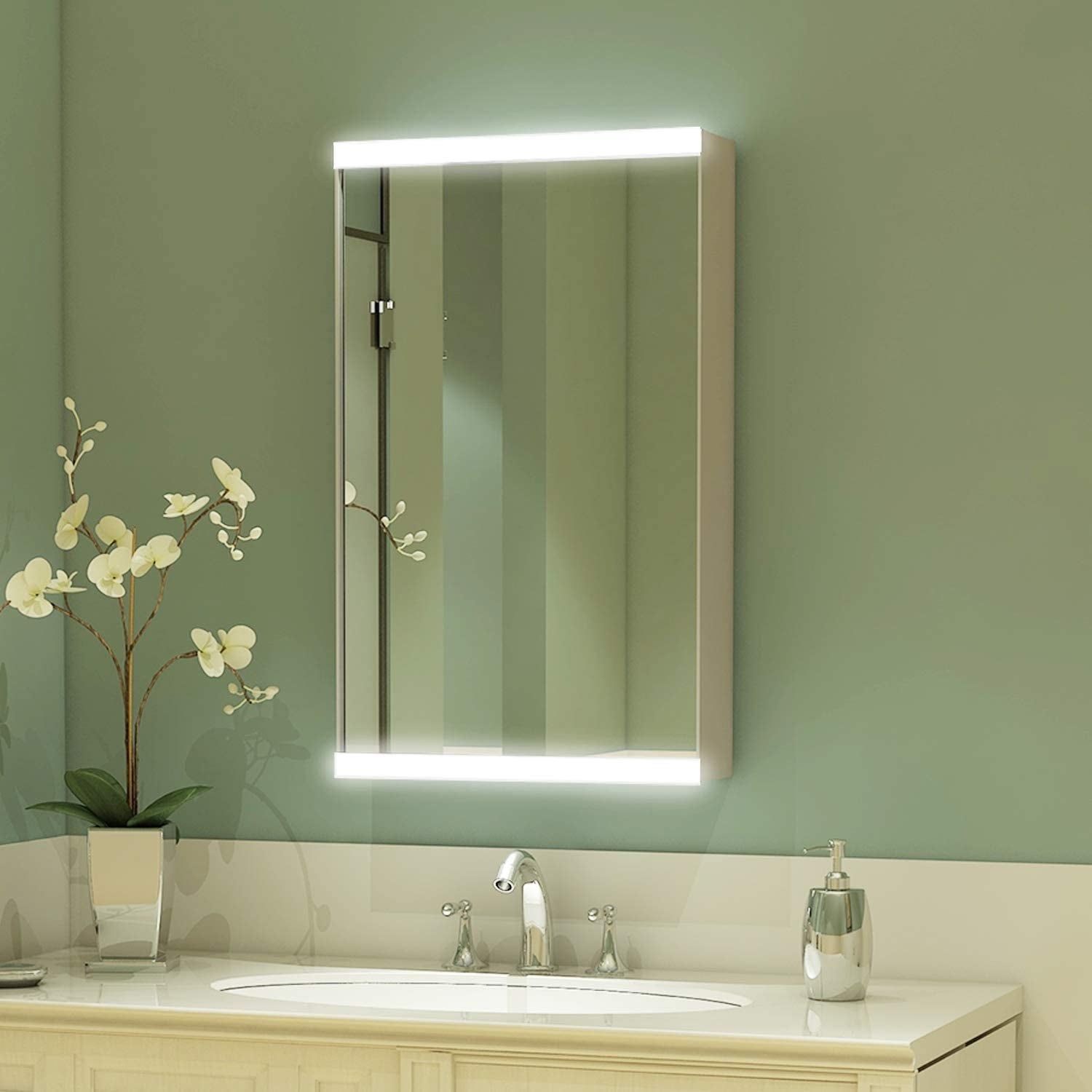15 X 26 Led Bathroom Medicine Cabinet With Mirror Intelligent Switch Aluminum Frame Casement Door Surface Mounting Only Overstock 31814289
