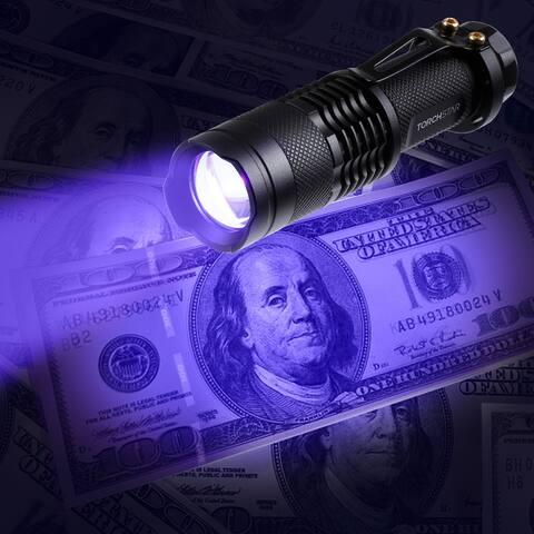 Zoomable LED UV Flashlight, 1W Ultraviolet LED Portable Light - 1Pack