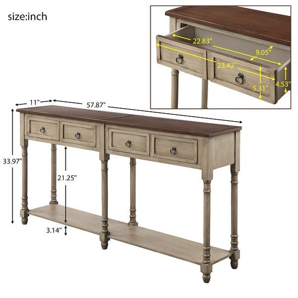 Antique Grey Console Table Entryway Table With Drawers And Shelf Overstock 29234789