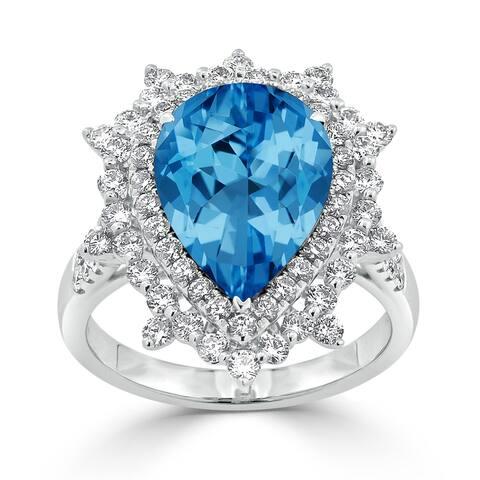 Auriya 5 5/8ct Pear-cut Blue Topaz and Halo Diamond Ring 1 1/4ctw 18K Gold