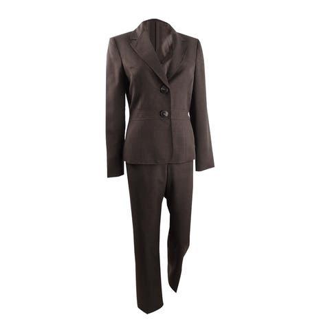 Le Suit Women's Two-Button Pant Suit (6, Espresso) - 6