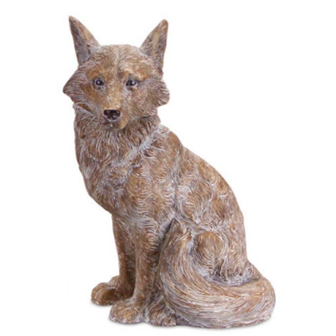 18 Woodland Rustic Style White and Brown Sitting Fox Decorative Figure - N/A