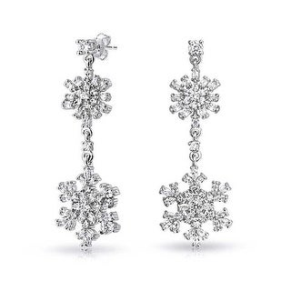 Bling Jewelry Cubic Zirconia Double Drop Snowflake Earrings Rhodium Plated