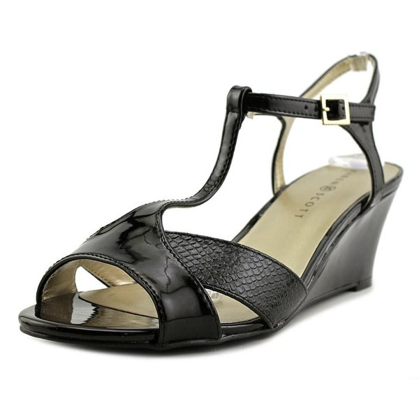 Karen Scott Sabinaa Women Open Toe Synthetic Black Wedge Sandal