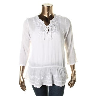 LRL Lauren Jeans Co. Womens Tunic Top Cotton Embroidered