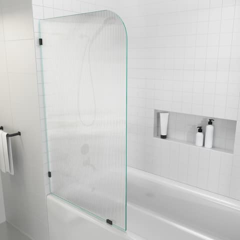 """58.25"""" x 34"""" Frameless Bath Shower Door - Single Fixed Panel Fluted Frosted Radius"""