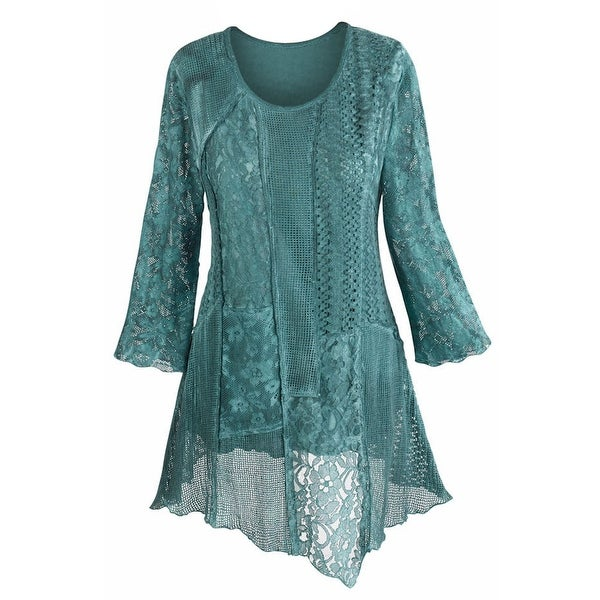 Women S Tunic Top Lacey Layers Of Teal Asymmetrical