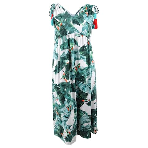 John Paul Richard Women's Petite Printed Shoulder-Tie Dress (PL, Alpine Green) - Alpine Green - PL