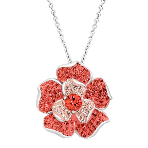Crystaluxe Flower Pendant with Coral & Vintage Rose Swarovski elements Crystals in Sterling Silver