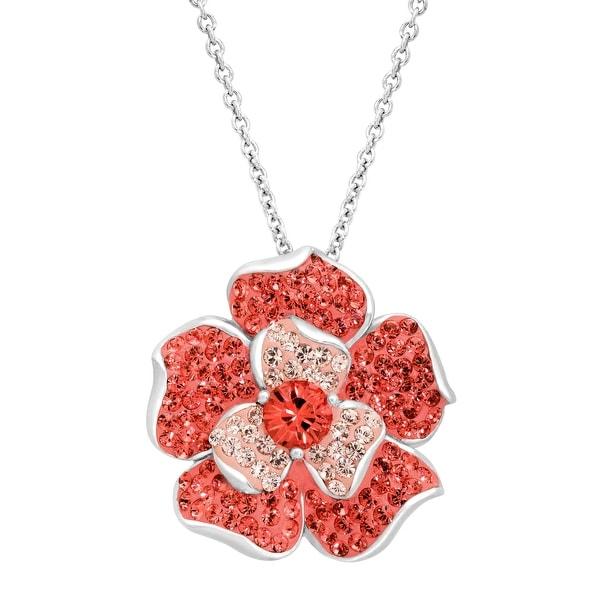 Crystaluxe Flower Pendant with Coral & Vintage Rose Swarovski Crystals in Sterling Silver - Orange