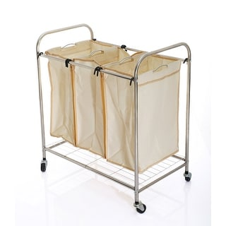 VECELO FURNITURE Laundry Basket Laundry Cart/ Sorter Washing Trolley with 3 Removable Section Bags