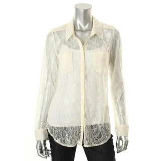 Guess Womens Channing Lace Two Pockets Button-Down Shirt - S